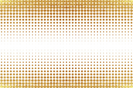 Gold, glitter abstract background. Cool pattern. Patina golden elements. . Halftone sparkles on white background. Creative invitation for new year, wedding, birthday. Trendy modern vector illustration. Illustration