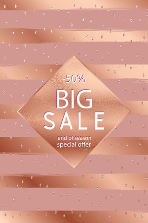 Sale fall . Copper glossy background. Metallic texture. Bronze metal. Trendy template for holiday designs, party, birthday, wedding, invitation, web banner card Stock Vector - 89999375