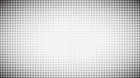 Streszczenie czarno-białe kropki tło. Komiksowy styl pop-artu. Efekt świetlny. Gradientowe tło z kropkami. Projekt kropki półtonów. Wektor na białym tle obiekt na stronie internetowej, karty, plakat, sprzedaż baner, pusta bańka, ilustracja pół tonu projekt książki.