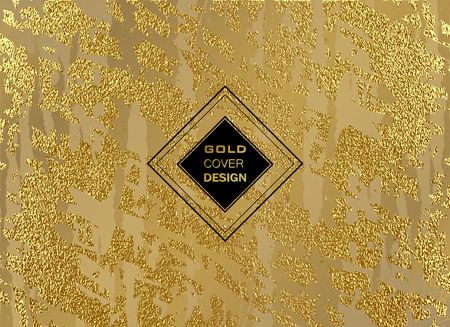 Abstract gold glitter grunge vector background. Golden trendy modern and stylish minimal design for poster, cover, card, brochure, banner. Cool pattern.