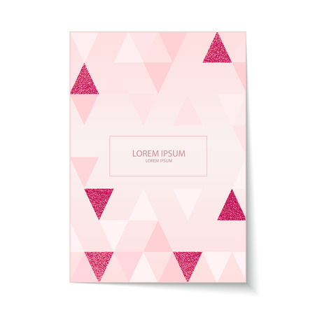 Holiday cover. Modern, minimal design with triangle pattern. Abstract Backgrounds. Vector illustration. Foil element