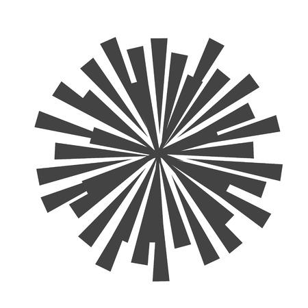 Explosion vector illustration. Rays element. Sunburst, starburst shape on white. Radial lines. Abstract circular geometric shape. Explosion vector illustration. Sun ray or star burst light element. Illustration