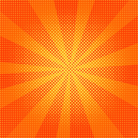 Ilustracja wektorowa wybuchu. Element promienia słonecznego lub wybuchu gwiazdy. Tło retro pop-artu z kropkami. Komiks walka pieczęć dla karty Superhero akcja tło ramki. Promienie światła.