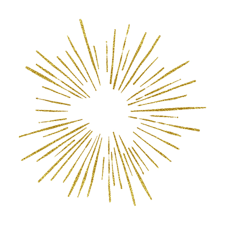 Sunshine. Explosion vector illustration. Rays element. Sunburst, starburst shape on white. Golden radial lines. Gold Abstract circular geometric shape. Sun ray or star burst light element.