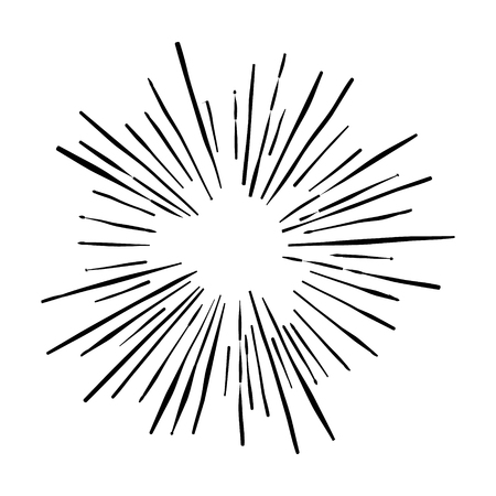 Sunshine. Explosion vector illustration. Rays element. Sunburst, starburst shape on white. Radial lines. Abstract circular geometric shape. Explosion vector illustration. Sun ray or star burst light element.