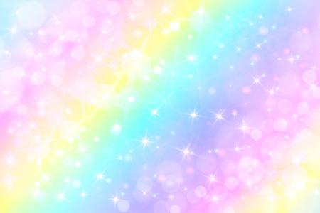 Illustrazione vettoriale graziosa olografica in colori pastello. Sfondo fantasia galassia. Il cielo pastello con arcobaleno per unicorno. Cielo con bokeh. Sfondo viola romantico per ragazza. Carta da parati di San Valentino.