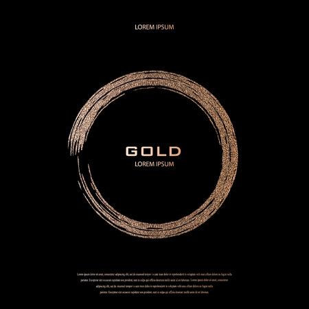 Brillo de bronce, patrón de destellos. Marco de cobre sobre fondo negro. Pátina, círculo de cuarzo dorado. Borde de lujo, elemento de diseño de logotipo. Dibujado a mano, ilustración de vector de forma de rosa. Sonrojo dorado redondo.