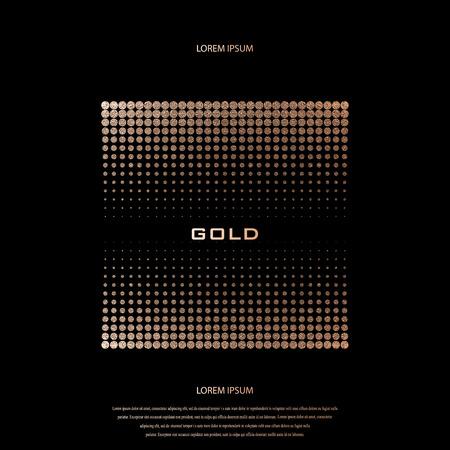 Blush gold pattern. Abstract golden quartz background. Vector illustration. Copper foil halftone. Bronze glitter polka dots. Geometric pattern. Creative stylish texture. Abstract minimal backdrop