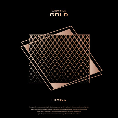 Blush gold pattern. Abstract golden quartz background. Vector illustration. Copper foil line. Bronze glitter stripes. Geometric pattern. Creative stylish texture. Abstract minimal backdrop