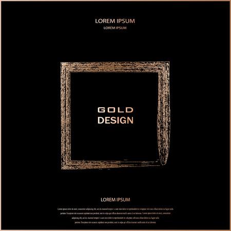 Bronze glitter, sparkles pattern. Copper frame on a black background. Patina, golden quartz Square. Luxury border, logo design element. Hand drawn, rose shape vector Illustration. Blush gold square.
