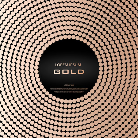 Golden quartz abstract circle. A frame of square. Blush gold halftone texture. The round border. Gold quartz vector illustration. Round cooper frame on a black background.