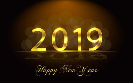 Happy New Year 2019. Background with golden sparkling texture. Gold Numbers 1, 2, 0, 9. Light effect. Vector Illustration