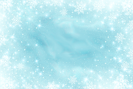 Snow frost effect on blue background. Vector Illustration. Abstract bright white shimmer lights and snowflakes. Glowing blizzard. Scatter falling round particles. Ilustrace