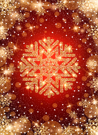 Snow frost effect on red background. Scatter falling round particles and snowflakes. Holiday Christmas club poster. Party New Year design banner. Vector gold glitter snowflake with lights effects.