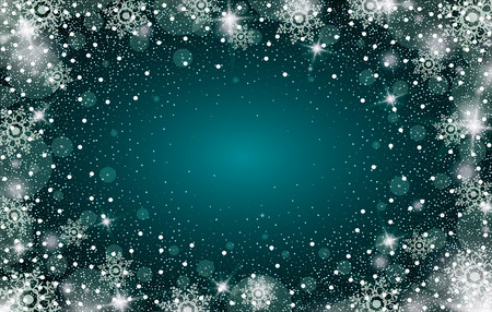 Snow frost effect on green-blue background. Vector Illustration. Abstract bright white shimmer lights and snowflakes. Glowing blizzard. Scatter falling round particles.