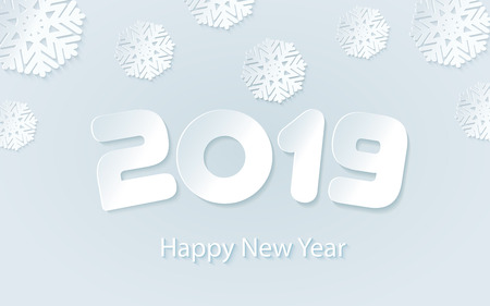 Happy New Year 2019 background with paper cuttings. Numbers 1, 2, 9 and snowflake cut from paper for holiday greeting card, invitation, calendar poster, banner. Vector Illustration .