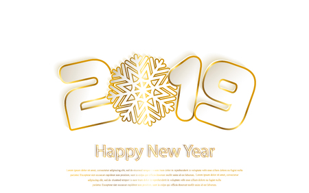 Happy New Year 2019 background with paper cuttings. Gold numbers 1, 2, 9 and snowflake cut from paper for holiday greeting card, invitation, calendar. Vector Illustration with golden sparkling texture