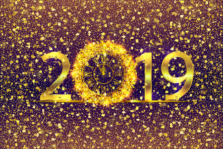 Happy New Year 2019. Background with golden sparkling texture. Gold Numbers 1, 2, 9 with golden clock.. Vector Illustration for holiday greeting card, invitation, calendar poster banner
