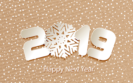 Happy New Year 2019. Numbers 2, 1, 9 and snowflake cut from paper for holiday greeting card, invitation, calendar poster, banner. Vector Illustration. Ilustrace