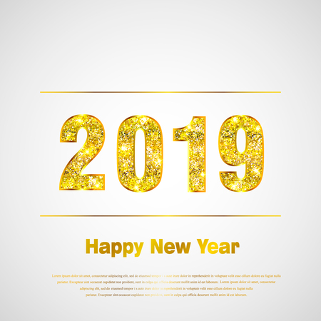 Happy New Year 2019. Background with golden sparkling texture. Gold Numbers 1, 2, 0, 9. Light effect. Vector Illustration for holiday greeting card, invitation, calendar poster banner Ilustrace