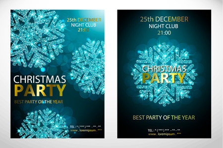 Set of posters with cyan snowflakes. Christmas ,Happy New Year party. Background with blue silver sparkling snowflake. Bright surface. Vector Illustration for holiday greeting card. Gold lettering