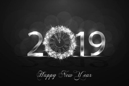Happy New Year 2019. Background with silver sparkling texture. Argent Numbers 1, 2, 9 with shiny clock.. Vector Illustration for holiday greeting card, invitation, calendar poster banner Ilustrace