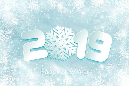Frohes neues Jahr 2019 Hintergrund mit Papierausschnitten. Zahlen 1, 2, 9 und Schneeflocke aus Papier geschnitten. Vektor-Illustration. Schneefrosteffekt und Schneeflocken. Glühender Schneesturm. Herabfallende runde Partikel.