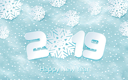 Happy New Year 2019 background with paper cuttings. Numbers 1, 2, 9 and snowflake cut from paper. Vector Illustration. Snow frost effect and snowflakes. Glowing blizzard. Falling round particles.