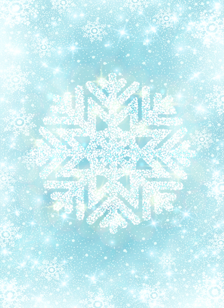 Snow frost effect on blue background. Scatter falling round particles and snowflakes. Holiday Christmas club poster. Party New Year design banner. Vector glitter snowflake with lights effects. Ilustrace