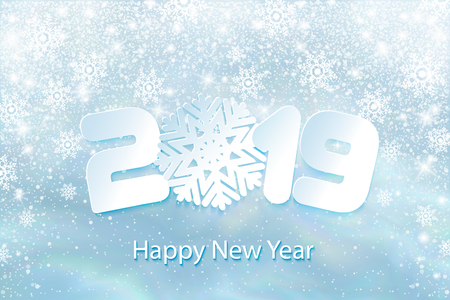 Vector Happy New Year 2019 background with paper cuttings
