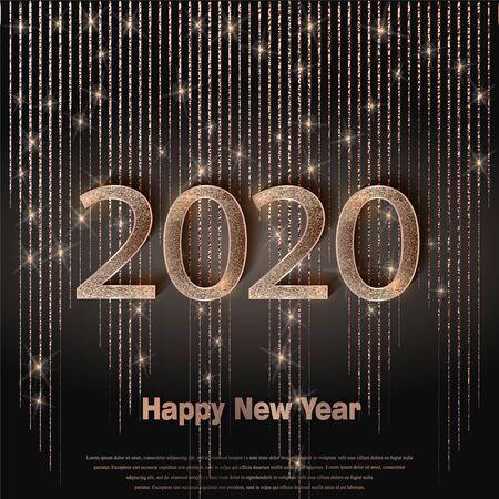 Happy new year 2020 luxury greeting card, vector Vecteurs