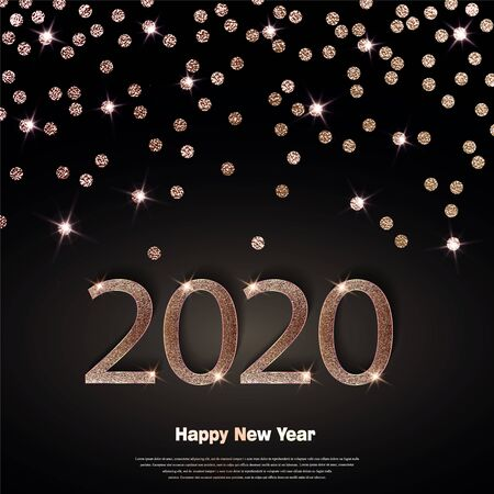 Happy new year 2020 luxury greeting card, vector