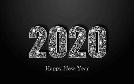 Happy New Year 2020. Luxury background with silver sparkling shiny numbers. Vector Illustration for holiday greeting card, invitation, calendar, poster or banner. 向量圖像