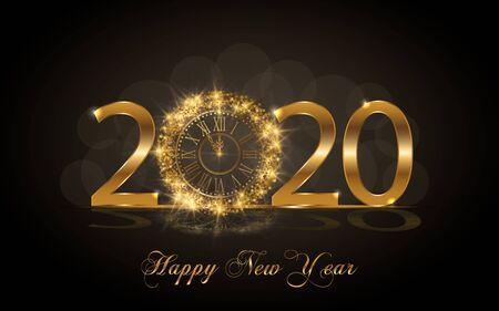 Feliz año nuevo 2020. Fondo con textura dorada brillante. Números de oro 20, 2, 0, 02 con reloj dorado ... Ilustración vectorial para tarjeta de felicitación navideña, invitación, banner de cartel de calendario