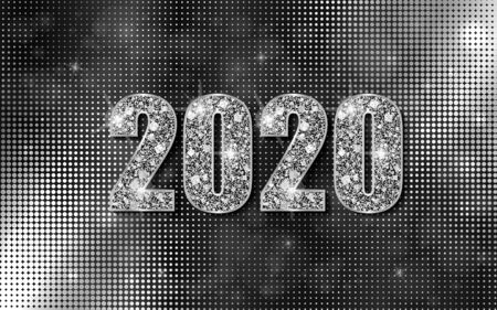 Happy New Year 2020. Luxury background with silver sparkling shiny numbers. Vector Illustration for holiday greeting card, invitation, calendar, poster or banner.  イラスト・ベクター素材