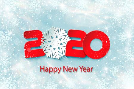 2020 Happy New Year poster with fairy winter background. Numbers and snowflake cut from paper. Vector Illustration for holiday greeting card, invitation, calendar or banner.