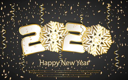 Happy new year 2020 greeting card with rose gold or bronze glitter and shine. Luxury copper numbers.