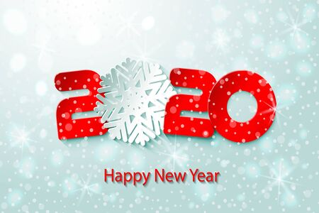 2020 Happy New Year poster with fairy winter background. Numbers and snowflake cut from paper.
