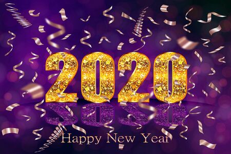 Gold shiny 2020 Happy new year greeting card with golden confetti. Luxury sparkling numbers.