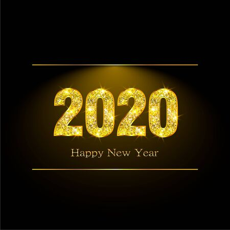 Happy new year 2020 greeting card or poster with gold glitter and shine.