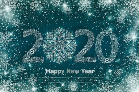2020 Happy New Year poster with fairy winter background. Snowflakes backdrop. Vector Illustration for holiday greeting card, invitation, calendar or banner.  イラスト・ベクター素材