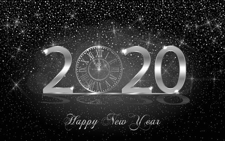 Happy New Year 2020. Background with silver sparkling shiny clock. Vector Illustration for holiday greeting card, invitation, calendar, poster or banner.