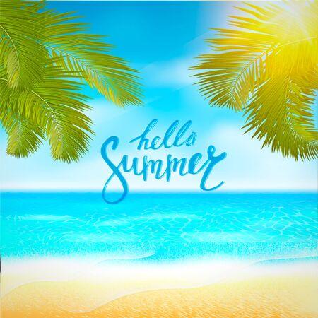 Affiche de plage d'été avec soleil, mer bleue et ciel nuageux. Vecteur