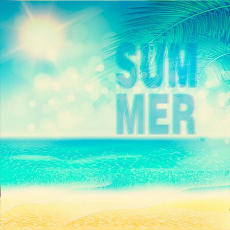 Summer beach Poster with sunshine, blue sea and cloudy sky. Vector