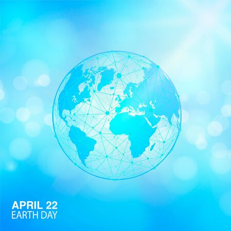 Earth Day banner. Map of the world. Globe planet Vector illustration. For media design and business infographic, website, cover, annual reports. Sun light and blue sky