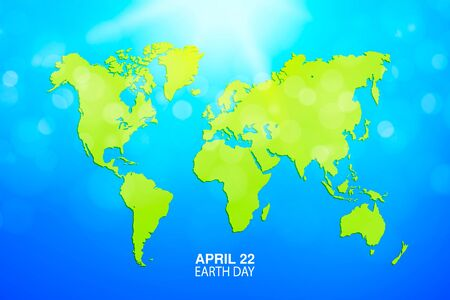 Earth Day banner. Map of the world. Green Globe planet Vector illustration. For media design and business infographic, website, cover, annual reports. Sun light and blue sky  イラスト・ベクター素材