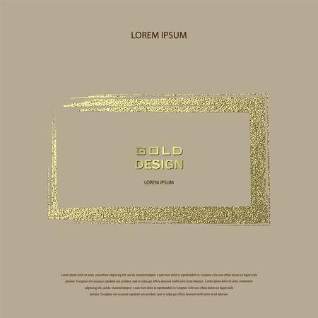 Round grunge golden frame on on transparent background. Circle luxury vintage border,