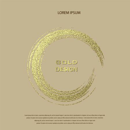 Round Grunge Golden Frame on beige background. Circle luxury vintage border, stamp.Trendy, label,  design element. Drawn shape vector Illustration. Gold Brush abstract wave.