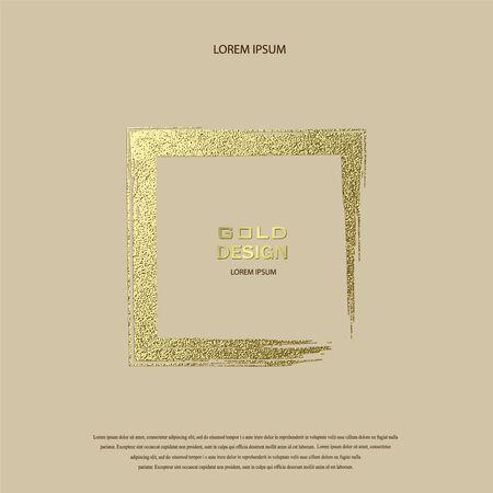 Grunge golden frame on beige background. Square luxury vintage border, stamp.Trendy, label,  design element. Drawn shape vector Illustration. Gold Brush abstract wave.