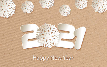 Happy New Year 2021. Numbers 20, 2, 0, 1, 21 and snowflake cut from paper for holiday greeting card, invitation, calendar poster, banner. Vector Illustration.